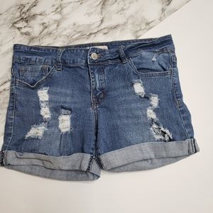 Altar'd State Cuffed Distressed Denim Shorts